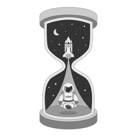 Time to explore space. Black and white abstract metaphorical hourglass with a yogi astronaut at the bottom and a flying shuttle at the top. Star curtains open the door to exploration