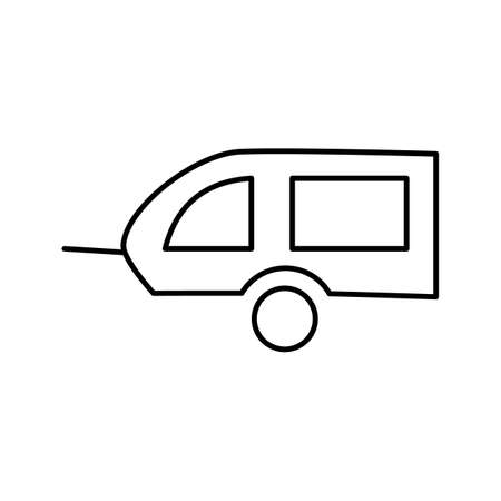 Linear icon of bicycle trailer for children and animals. Editable line stroke on a white background isolated Иллюстрация