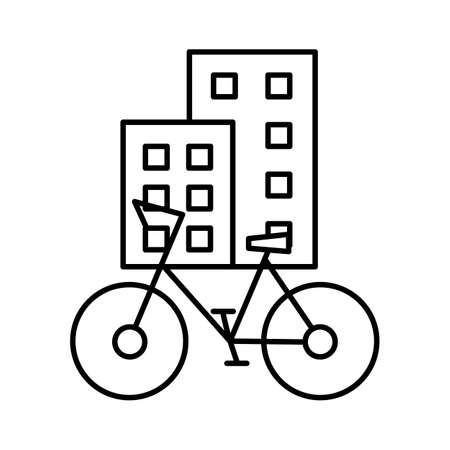 The urban type of bicycle is parked on a city street near non-skydiving buildings. Editable outline stroke linear icon. Thin vector black contour