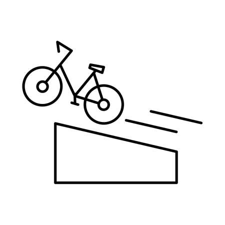 Bike trick. City bicycle accelerates and jumps from a springboard. Dangerous and extreme tricks. Editable outline stroke linear icon. Thin vector black contour.