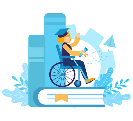 A disabled girl in a wheelchair studied and graduated from school or university. Certificate of skill. Graduation cap. inclusive high school or inclusive distance learning. Flat vector illustration.