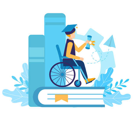 A disabled boy student in a wheelchair graduated from university. Certificate of qualification. Graduation cap. inclusive and disability education or distance learning. Flat vector illustration.   イラスト・ベクター素材