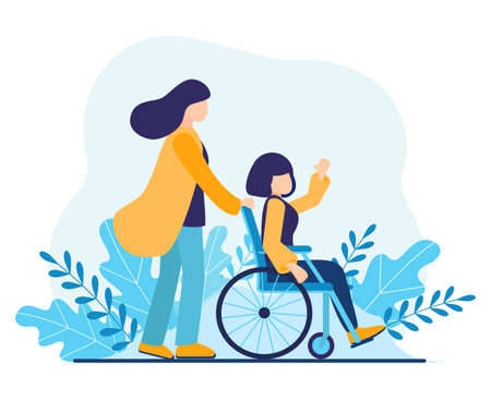 Volunteer helping disabled woman. Sister walking in park with girl disabled in wheelchair. Help disabled people, young social worker care about invalid. International Volunteer Day Vector