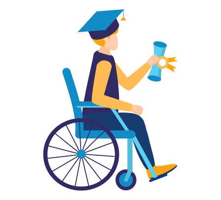 Une éducation inclusive et abordable. Un diplômé d'un étudiant handicapé en fauteuil roulant a appris du programme d'une école, d'une université. Études à domicile, en ligne et à temps plein. Illustration vectorielle isolée.