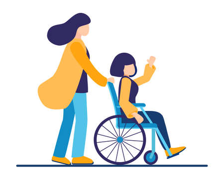 The sister helps the young relative of a disabled person in a wheelchair in transportation. Spend time together with fun and equal opportunities. Volunteer assistance.Vector illustration isolated Illustration