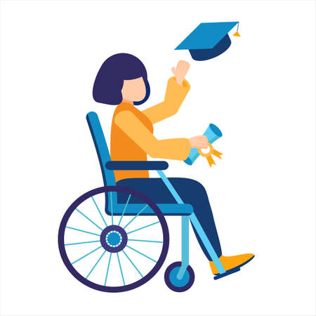 Disabled graduate of a university or school. Young girl student on a wheelchair. Invalid holds a masters or bachelors degree. Graduation cap. Inclusive, home or online education. Vector illustration Ilustracja