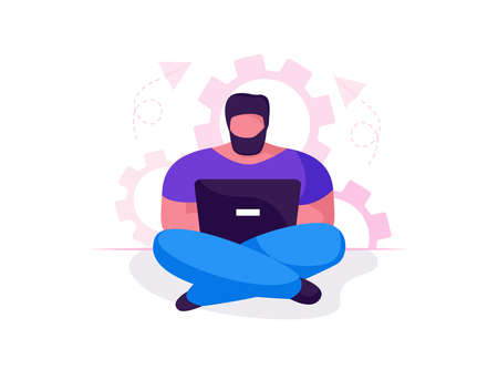 Man with laptop sitting in lotus position with gears in background. Concept illustration for working, freelancing, studying, education, work from home. Vector illustration isolated flat cartoon style. Stock Illustratie