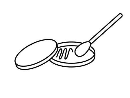 Placa de Petri con rastro de bacterias en un medio nutritivo con hisopo de algodón. Plato con tapa. Ilustración de vector de icono de trazo editable aislado.