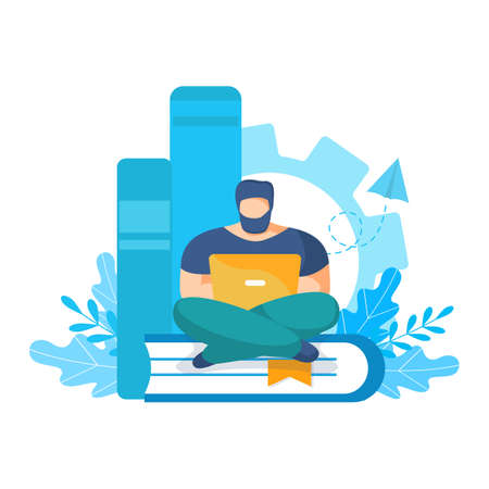 Online education. Young man sitting with laptop on a stack of books and remotely studying online course. Ebook reading concept. Vector modern flat illustration. Design element for banner, poster Stock Illustratie