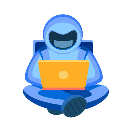 Cosmonaut with a laptop. An astronaut in a blue space suit sits in a lotus position with his legs crossed. The concept of lifelong education, freelance, study, work. Cosmos vector flat illustration Vettoriali
