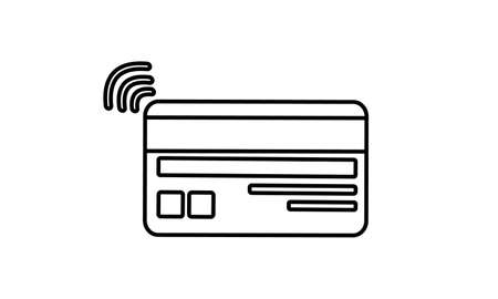 Contactless payment icon, bank card with radio wave outside sign.isolated icon, vector illustration. Rear side plastic card with magnetic stripe.Electronic financial transactions. NFC. Editable stroke Ilustrace