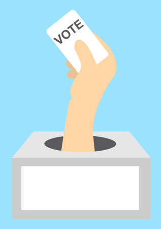 A hand from the ballot box holds a ballot card with the word Vote. Vector illustration for presidential, government voting. Incognito score. Copy space. Ilustração