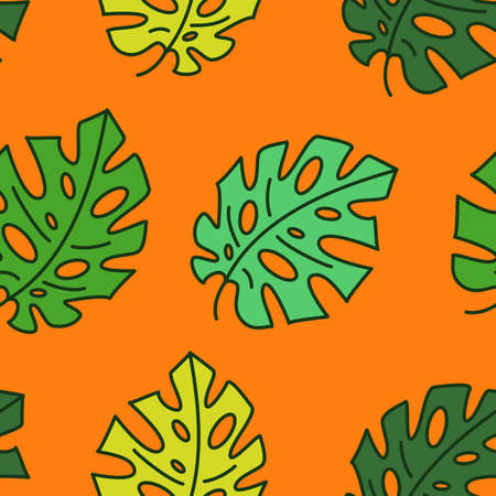 Monstera leaves on an orange hot summer background. Seamless vector pattern of green and yellow leaf of a home plant with a dark stroke. Vector flat modern illustration for textile, fabric, wrapper.