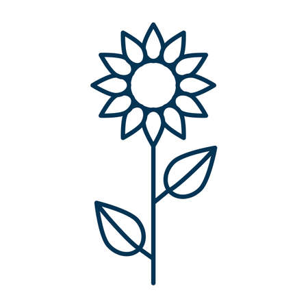 Thin line vector outline icon of a sunflower flower with two leaves slenderly standing on a white background isolated with editable stroke Vector Illustration