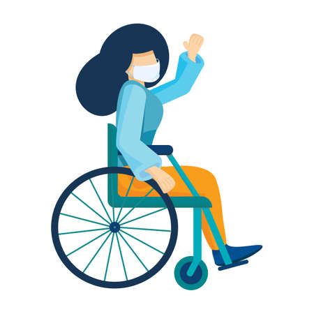 Young caucasian woman in medical mask sitting in a wheelchair. Girl with long hair living with disabilities. Coronovirus virus protection. Disabled character. Vector illustration Ilustración de vector