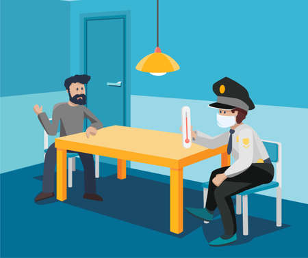 Interrogation room with a customs officer and a sick passenger immigrant to the coronavirus, the spread of the virus and pandemic. Vector modern flat cartoon style art illustration concept. Illustration