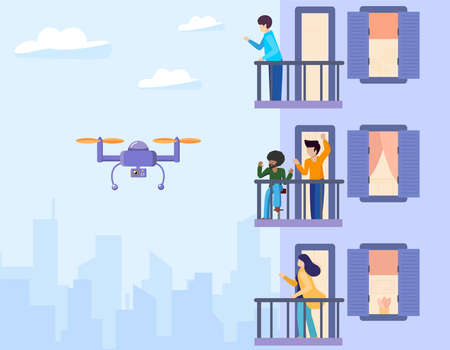 The copter flies and takes off, monitors and watches over the facade of house with balconies. People stand on the terraces and wave to the robot. Vector flat illustration urban buildings background.