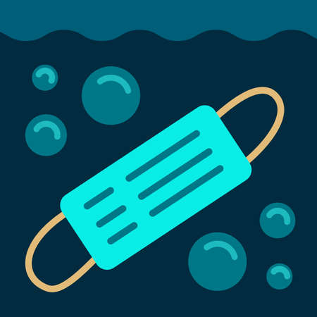 Concept of consequences of overuse of disposable medical surgical masks. Pollution of waters of ocean and the sea, environment. Non-recycled mask drowns in water bubbles underwater. Vector stock