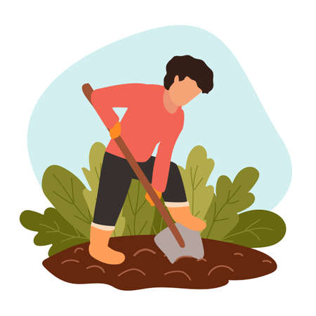 Man digs soil with shovel on farm. Person in protective gloves and boots grows organic food. Concept of eco-farming, hard labor on country. Vector modern illustration. Preparing dirt for planting