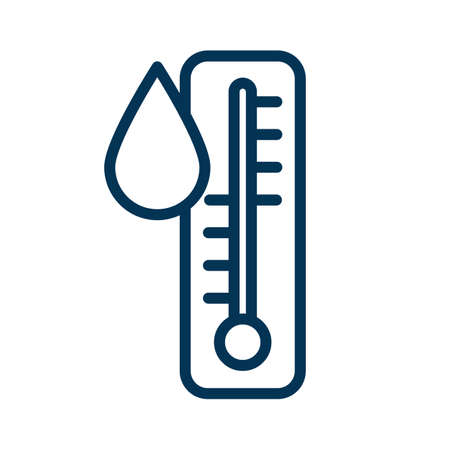 Thermometer temperature measure water with blob liquids. Line style vector illustration design. Tool with drop blood or gout. Humidity indicator. Editable stroke 矢量图像