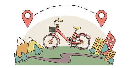 One-day bicycle ride from city outside countryside to mountains and forest along path. Walking sports bike from town to hills. Staycation. Local tourism. Vector flat cartoon illustration with stroke Stock Illustratie