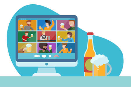 Concept of online party with beer. Friends teleconference. Virtual pub. Oktomberfest at home during quarantine. Glass bottle and foamy beer in glass cup on table. Vector flat illustration. Banner.