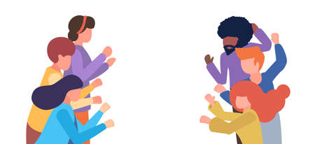 Group of people applaud. Men and women show applause. Vector flat cartoon illustration with copy space for text. Friends express gratitude and encouragement, love. People no face applaud, sympathize Vektorgrafik