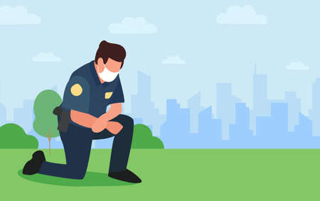 Take the knee. Police officer kneels on ground in tribute to victims of racism. Policeman in mask show support, solidarity. Background cityscape.