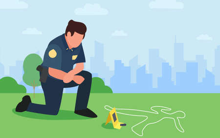 Policeman looks down over evidence and over chalk track of dead man by bullet on grass. Officer investigates crime cityscape. Thinking young modern detective character at crime scene. Copy space.