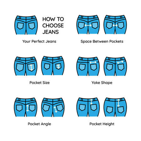 Set color icons pairs different type jeans with arrows of correct position back pockets. Fashion tips, advice. Secret to choosing perfect shorts or pants. Vector illustration isolated editable stroke.