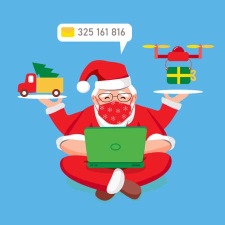 Multitasking Santa Claus at home answers email inquiries on laptop. Sending gifts by copter. Christmas tree in truck. Removed New Year Christmas 2021 in quarantine. Vector flat illustration