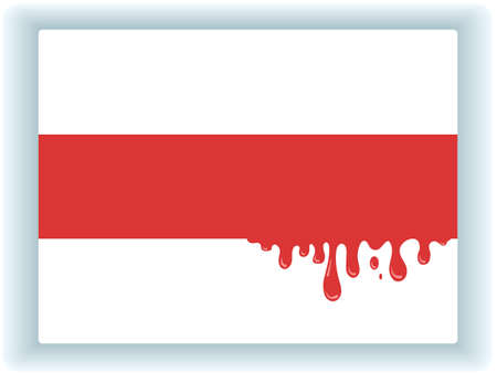 Oppositional red-white flag of Belarus with streaks of red blood from the middle band. Abstract symbol of civil war and the shedding of innocent blood of protesters. Vector illustration
