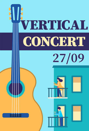 Vertical concert under balconies invitation template. Live music flyer design with acoustic guitar. Vector illustration poster, promotional banner, brochure, or greeting card. People on terraces  イラスト・ベクター素材