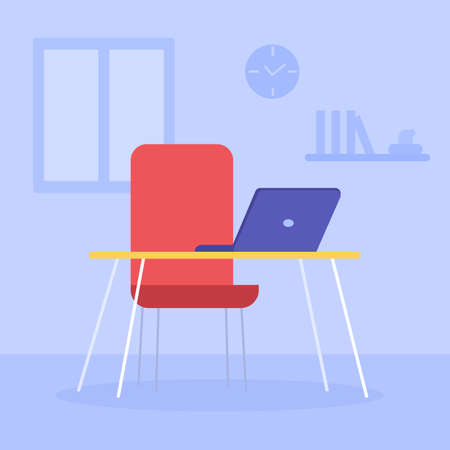 Empty workplace near the window. Armchair and table with laptop. Remote work. Modern comfortable furniture. Home Office. Vacant place. Vector flat illustration
