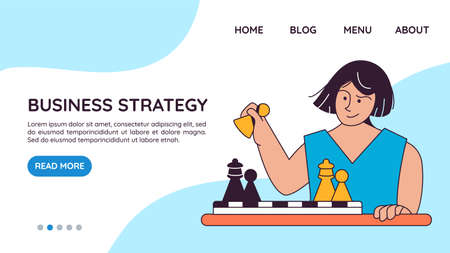 Landing page template with woman playing chess on board. Concept of business strategy, market competition tactics. Modern vector illustration for website.