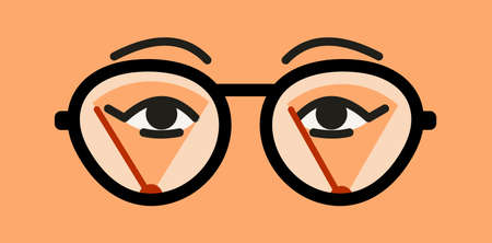 Misted glasses. Glasses lenses in the fog. Wipers cleaning moisture from the surface. Female eyes and eyebrows close up. Vector flat illustration of foggy glasses problem.