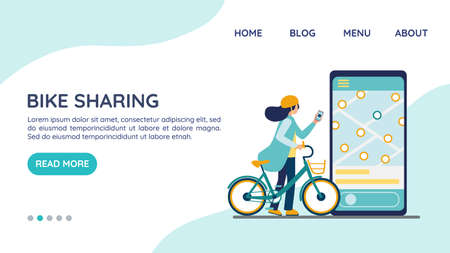 Bike sharing. Electric bicycle rental website landing page, template concept. Rental urban transport. Woman in helmet unlocks the bike with app. Smartphone with accessible transport map