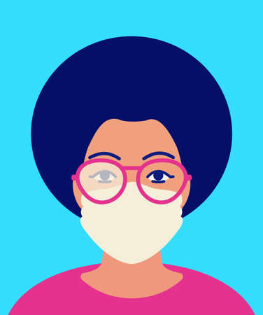 African woman in foggy glasses and in protective facial mask. Concept of condensation problem on glass when wearing mask in cold time. Vector flat illustration on blue background. Anti-fog solution.