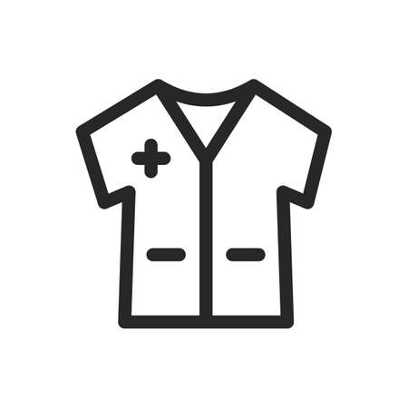 Medical gown icon for doctors and first aid workers and patients. Short sleeve, pockets. Vector thin line linear illustration. Editable outline for web, UI
