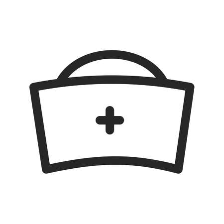 Nurse hat icon vector illustration. Doctor female medical cap uniform. Vector thin line linear illustration. Editable outline for web, UI, stories highlights.