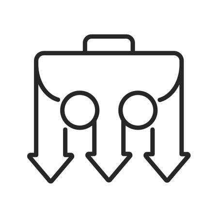 Business adaptability and flexibility. Portfolio bypasses the obstacle and moves forward in different ways. Problem solving options abstract icon for web. Vector linear thin line illustration. Vecteurs