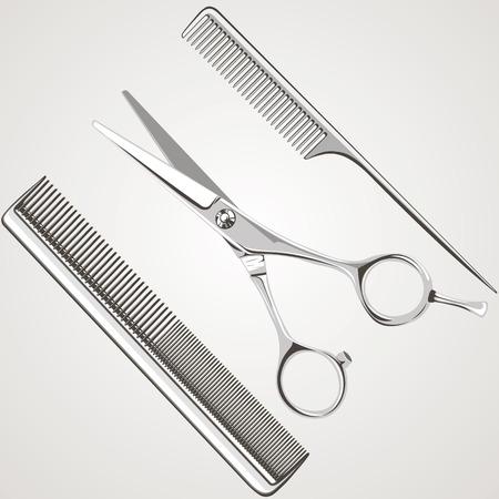 comb: hairdressing salon, scissors, comb