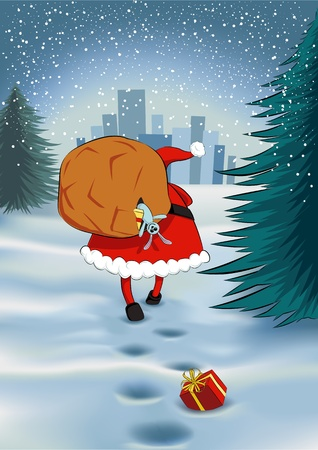 Santa Claus walking towards a town with a big sack on his back, losing some gifts Stock Vector - 15952018