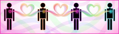 apoyo familiar: Concepto de conexión del corazón entre un número de personas