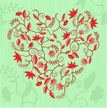 Heart shaped pattern with flowers, leaves and curles