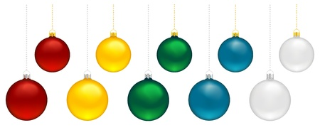 Five christmas baubles in different colors with silver or golden loops to hang Stock Vector - 16125989
