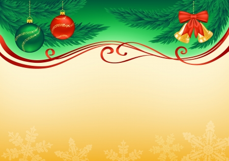 Christmas background decorated with branches, baubles, bells, snowflakes and ribbons