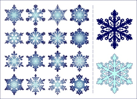 Set of 16 different snowflakes with example of colour varieties Stock Vector - 16126009