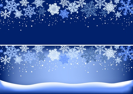 Seamless horizontal snowflake ornament and background