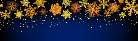 Seamless horizontal golden snowflake ornament on a dark blue background